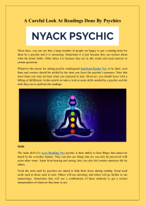 A Careful Look At Readings Done By Psychics
