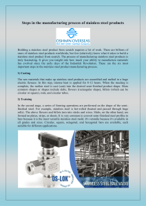 Steps in the manufacturing process of stainless steel products