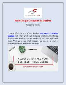 Best Website Design and Development Company in Durban