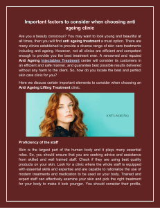 Important factors to consider when choosing anti ageing clinic