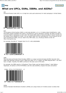 What are bar codes EAN UPC ISBN and ASIN ?