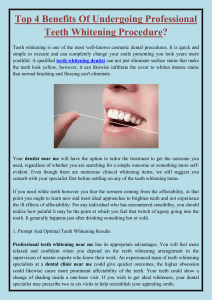 Top 4 Benefits Of Undergoing Professional Teeth Whitening Procedure