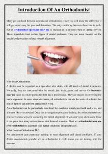Introduction Of An Orthodontist