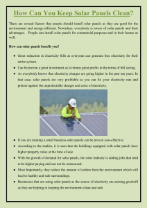 How Can You Keep Solar Panels Clean
