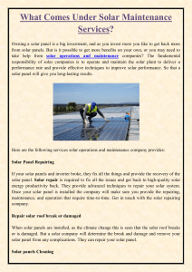 What Comes Under Solar Maintenance Services