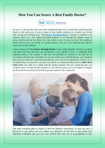 How You Can Secure A Best Family Doctor