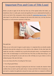 Important Pros and Cons of Title Loan!