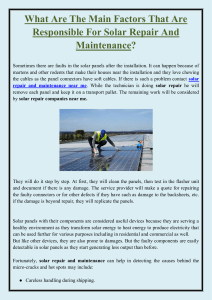 What Are The Main Factors That Are Responsible For Solar Repair And Maintenance