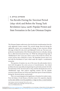 Aytekin, E. Attila.Tax Revolts During the Tanzimat Period (1839-1876) and Before the Young Turk Revolution (1904-1908)