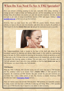 When Do You Need To See A TMJ Specialist