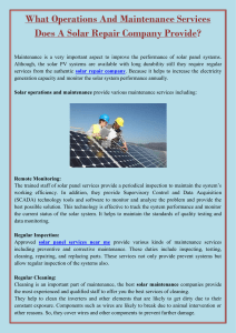 What Operations And Maintenance Services Does A Solar Repair Company Provide