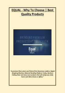 EQUAL - Why To Choose  Best Quality Products
