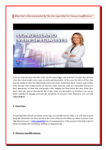 What diet is recommended by the vein specialist for venous insufficiency?