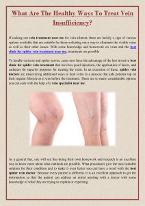 What Are The Healthy Ways To Treat Vein Insufficiency