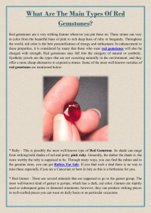 What Are The Main Types Of Red Gemstones
