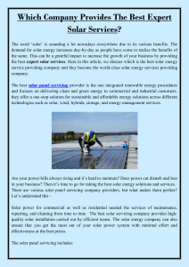 Which Company Provides The Best Expert Solar Services