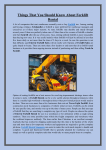Things That You Should Know About Forklift Rental