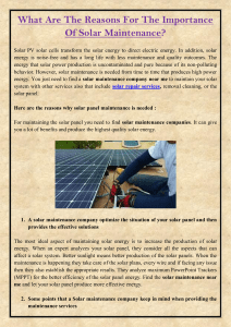 What Are The Reasons For The Importance Of Solar Maintenance