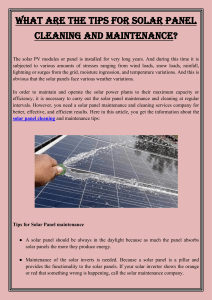 What are the Tips for Solar Panel Cleaning and Maintenance