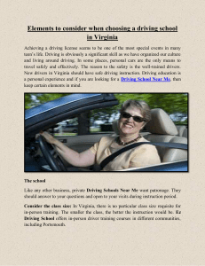 Elements to consider when choosing a driving school in Virginia
