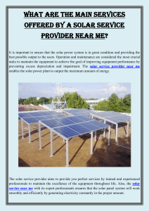 What are the main services offered by a solar service provider near me