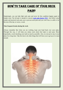 How to take care of your neck pain