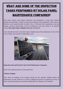 What are some of the inspection tasks performed by solar panel maintenance companies