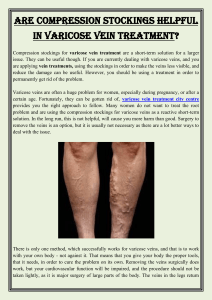 Are compression stockings helpful in varicose vein treatment