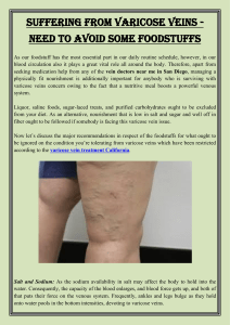 Suffering From Varicose Veins   Need to Avoid Some Foodstuffs